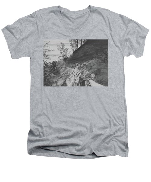Men's V-Neck T-Shirt featuring the drawing The Summit by Jane Autry