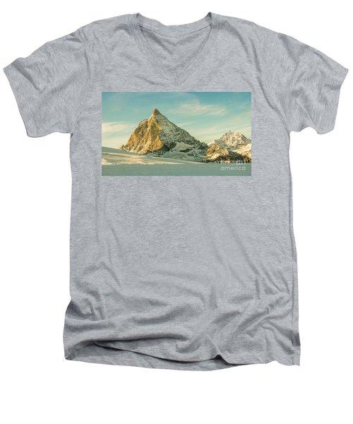 The Sun Sets Over The Matterhorn Men's V-Neck T-Shirt