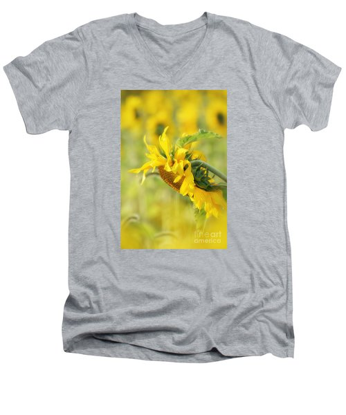 Men's V-Neck T-Shirt featuring the photograph The Sunflower by Lila Fisher-Wenzel