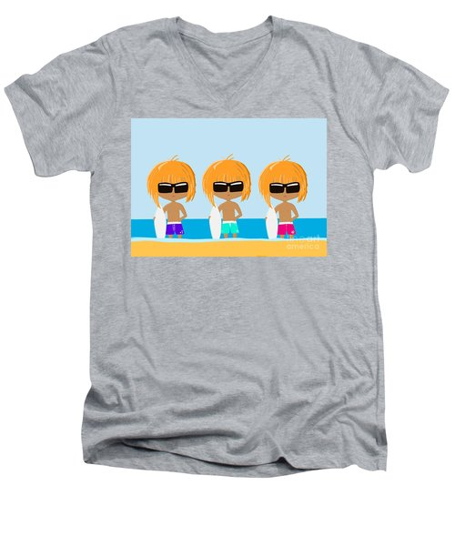 The Surfing Triplets Men's V-Neck T-Shirt