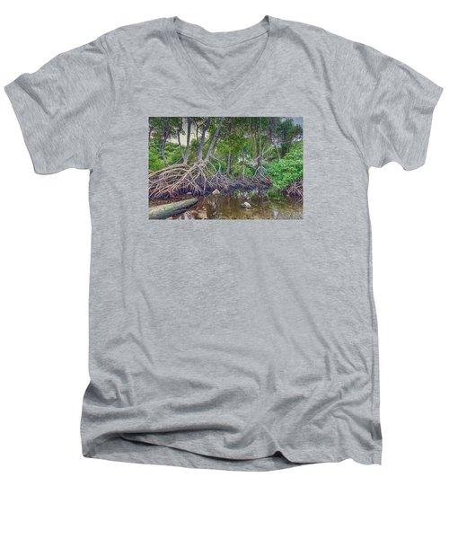 The Swamp Men's V-Neck T-Shirt by Nadia Sanowar