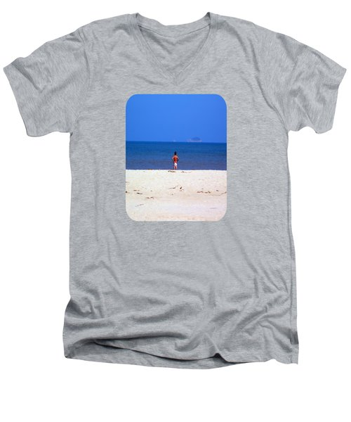 Men's V-Neck T-Shirt featuring the photograph The Swimmer by Ethna Gillespie