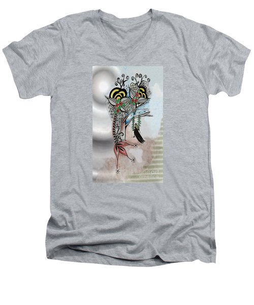 The Swing Colorful Ink Drawing Art By Saribelle Men's V-Neck T-Shirt by Saribelle Rodriguez