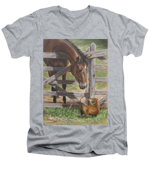 Men's V-Neck T-Shirt featuring the painting The Tall And Short Of It by Kim Lockman