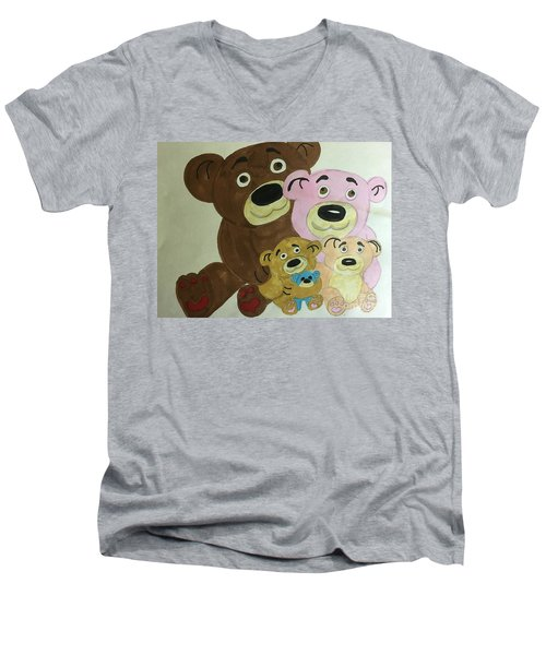The Teddy Family  Men's V-Neck T-Shirt