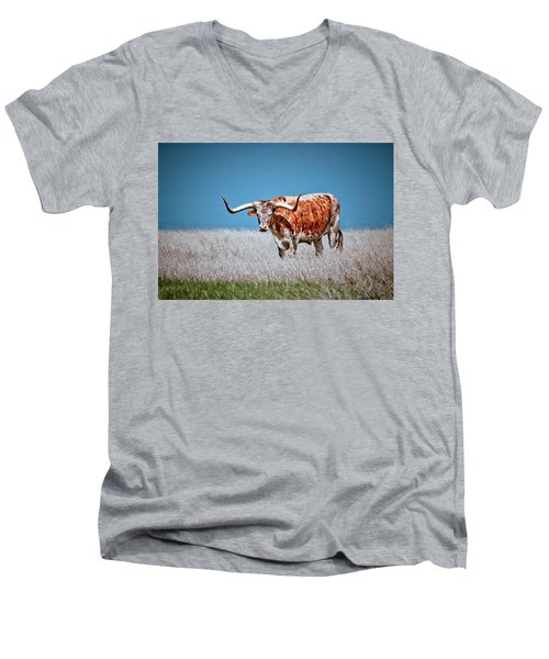 Men's V-Neck T-Shirt featuring the photograph The Texas Longhorn by Linda Unger