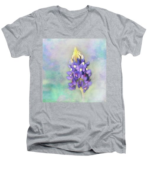 Men's V-Neck T-Shirt featuring the photograph The Texas State Flower The Bluebonnet by David and Carol Kelly