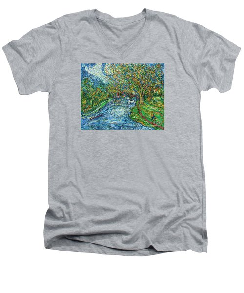The Thames At Oxford Men's V-Neck T-Shirt