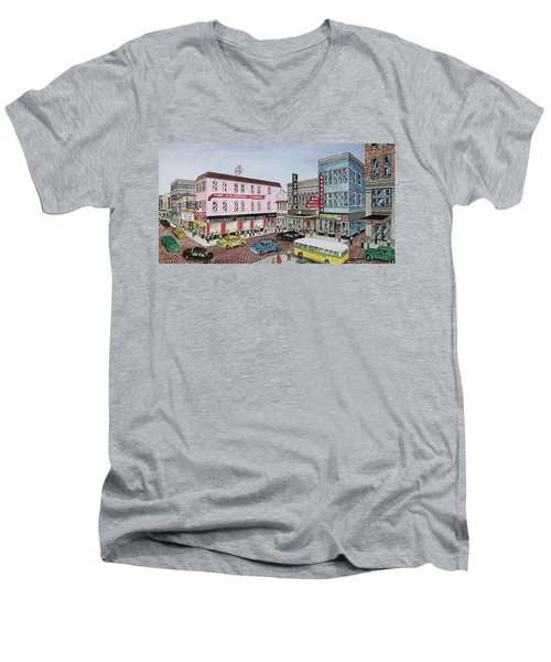 The Theater District Portsmouth Ohio 1948 Men's V-Neck T-Shirt by Frank Hunter