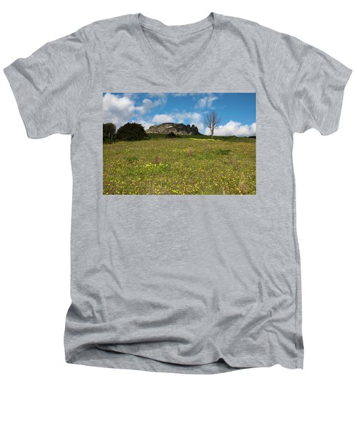 Men's V-Neck T-Shirt featuring the photograph The Three Finger Mountain by Bruno Spagnolo