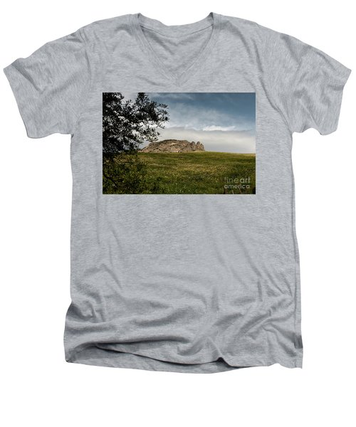 Men's V-Neck T-Shirt featuring the photograph The Three Fingers by Bruno Spagnolo