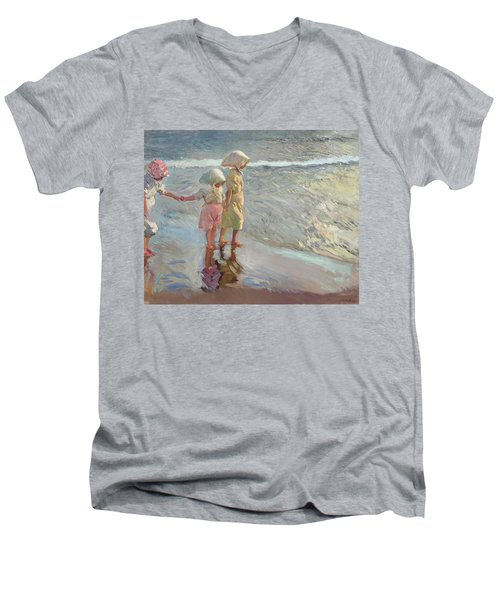 The Three Sisters On The Beach Men's V-Neck T-Shirt
