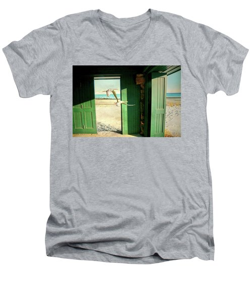Men's V-Neck T-Shirt featuring the photograph The Thruway by Diana Angstadt