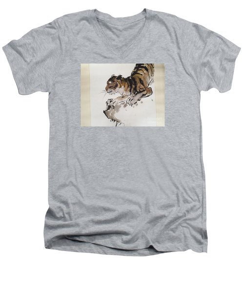 Men's V-Neck T-Shirt featuring the painting The Tiger At Rest by Fereshteh Stoecklein