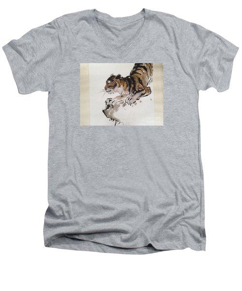 The Tiger At Rest Men's V-Neck T-Shirt by Fereshteh Stoecklein