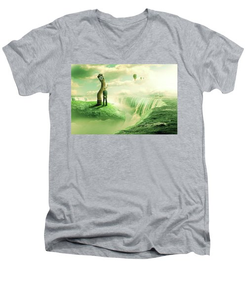 Men's V-Neck T-Shirt featuring the digital art The Time Keeper by Nathan Wright