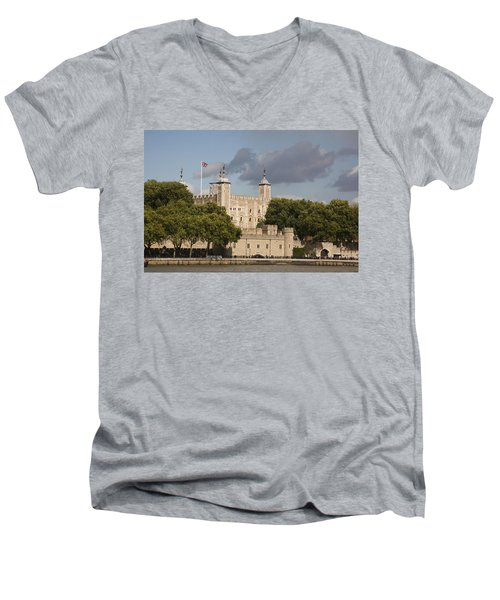 Men's V-Neck T-Shirt featuring the photograph The Tower Of London. by Christopher Rowlands