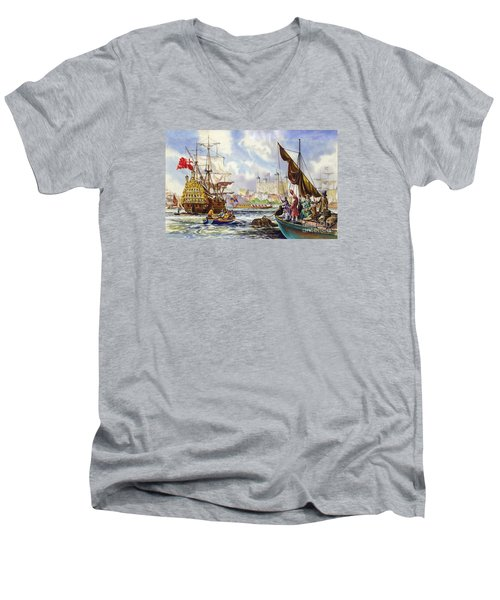 The Tower Of London In The Late 17th Century  Men's V-Neck T-Shirt by English School