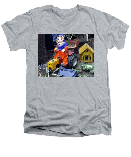 Men's V-Neck T-Shirt featuring the photograph The Tractor Driver by Bliss Of Art