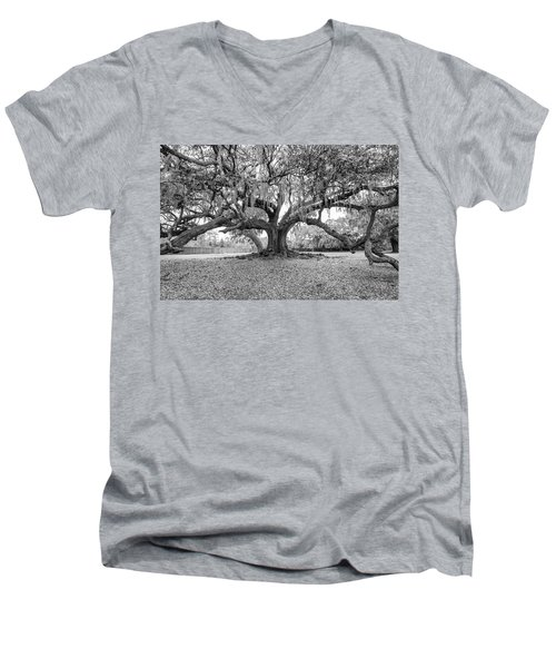 The Tree Of Life Monochrome Men's V-Neck T-Shirt by Steve Harrington