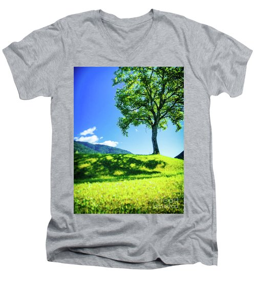 Men's V-Neck T-Shirt featuring the photograph The Tree On The Hill by Silvia Ganora