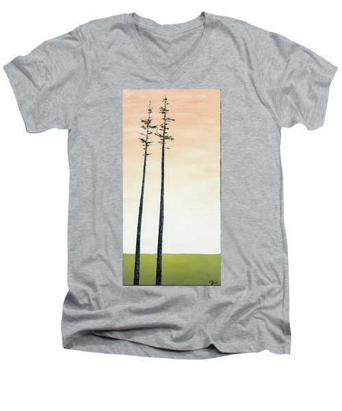 The Trees Are So Tall Here   Men's V-Neck T-Shirt by Carolyn Doe