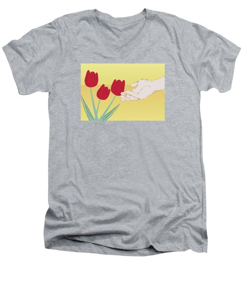 The Tulips Men's V-Neck T-Shirt by Milena Ilieva