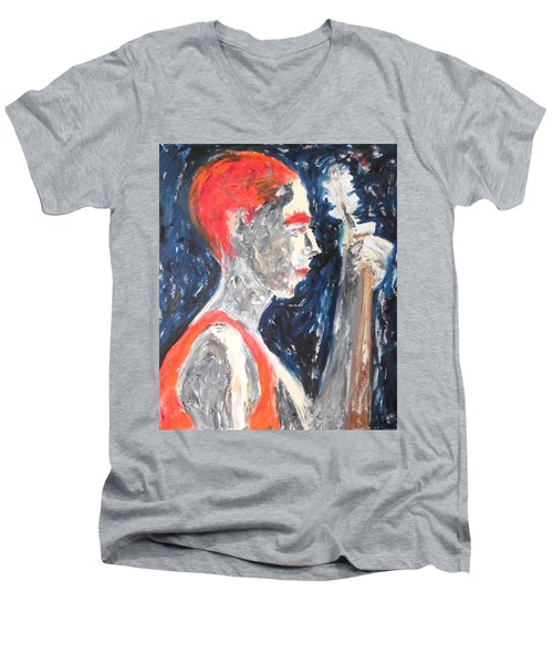 Men's V-Neck T-Shirt featuring the painting The Turkish Baglama Player by Esther Newman-Cohen