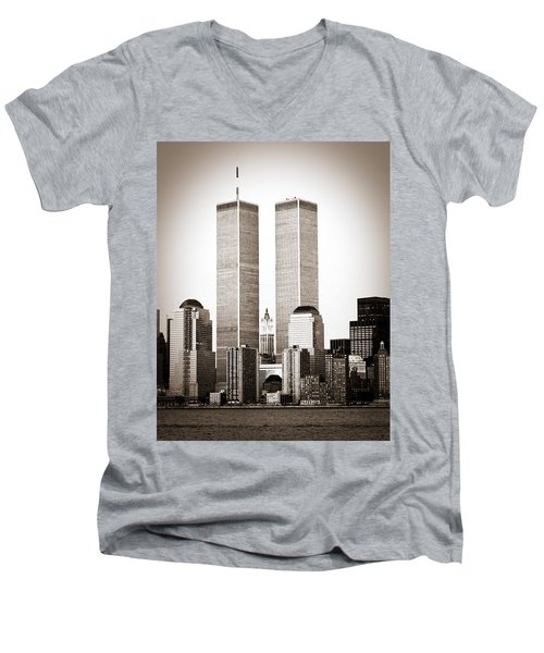 The Twin Towers Men's V-Neck T-Shirt