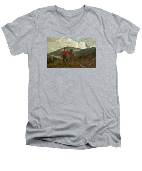 Men's V-Neck T-Shirt featuring the painting The Two Guides by Winslow Homer