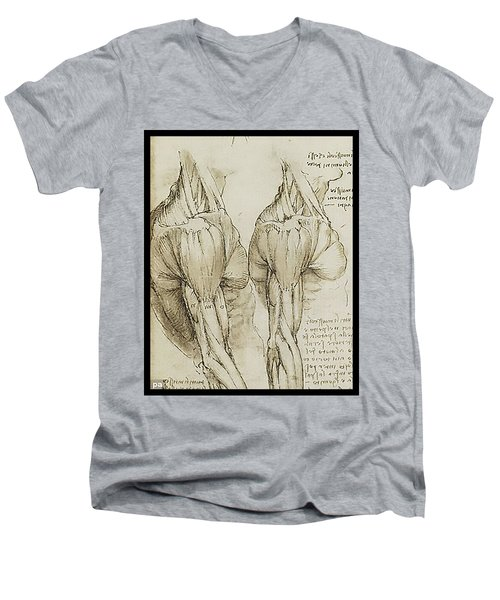 Men's V-Neck T-Shirt featuring the painting The Upper Arm Muscles by James Christopher Hill