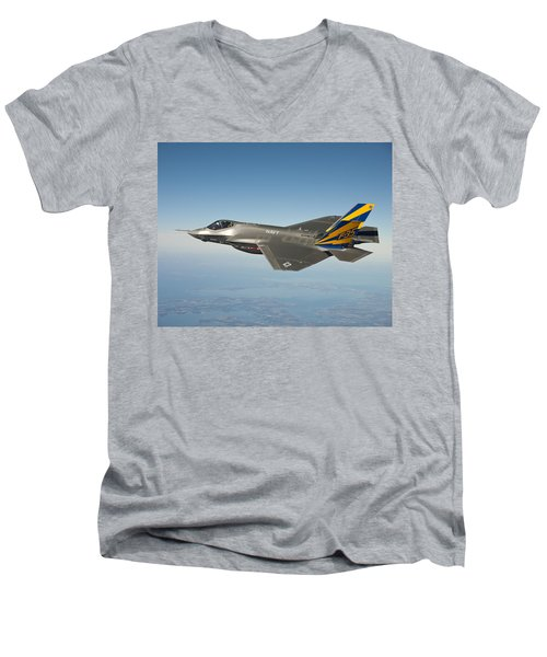 The U.s. Navy Variant Of The F-35 Joint Strike Fighter, The F-35c Men's V-Neck T-Shirt