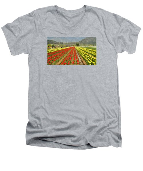 The Valley Blooms Men's V-Neck T-Shirt by Fotosas Photography