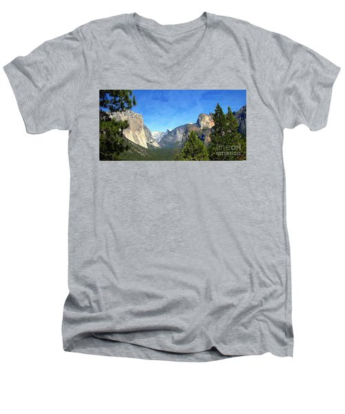 The Valley Of Inspiration-yosemite Men's V-Neck T-Shirt
