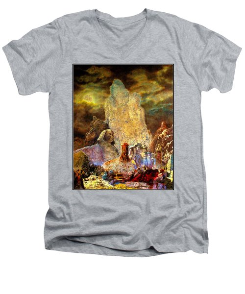Men's V-Neck T-Shirt featuring the painting The Valley Of Sphinks by Henryk Gorecki