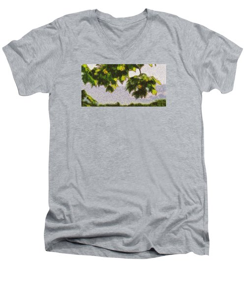 Men's V-Neck T-Shirt featuring the digital art The Vibrating Sky Beyond by Spyder Webb