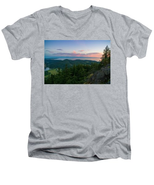The View From Mt Erie Men's V-Neck T-Shirt by Ken Stanback