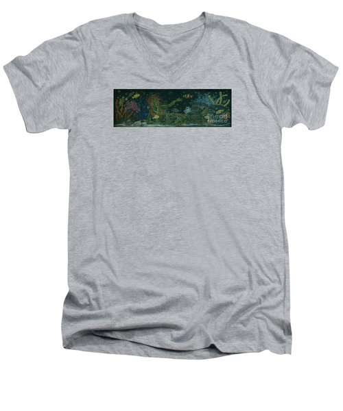 Men's V-Neck T-Shirt featuring the drawing The Visitor by Dawn Fairies