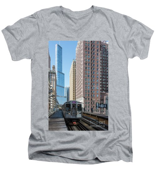 The Wabash L Train At Eye Level Men's V-Neck T-Shirt