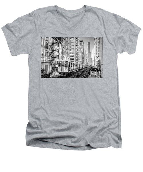The Wabash L Train In Black And White Men's V-Neck T-Shirt