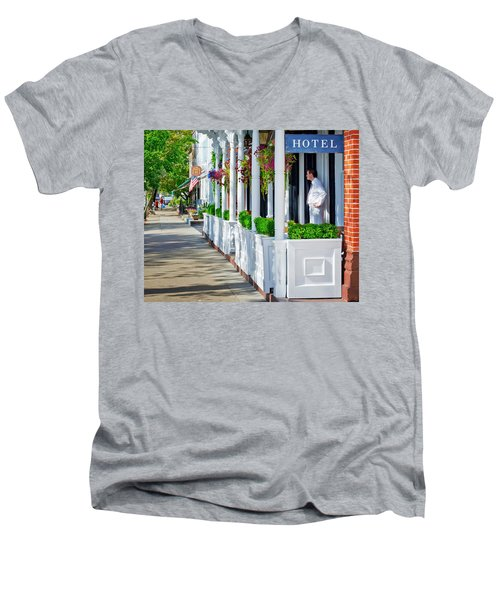 The Waiter Men's V-Neck T-Shirt by Keith Armstrong