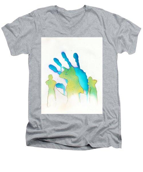 The Walking Dead White Men's V-Neck T-Shirt by Justin Moore