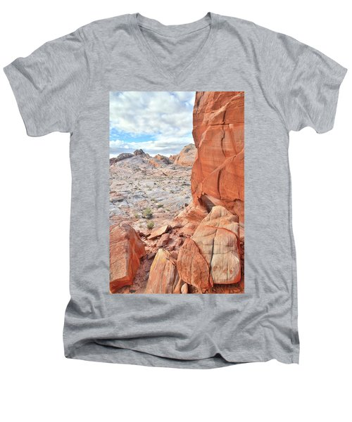 The Wall At Valley Of Fire Men's V-Neck T-Shirt by Ray Mathis