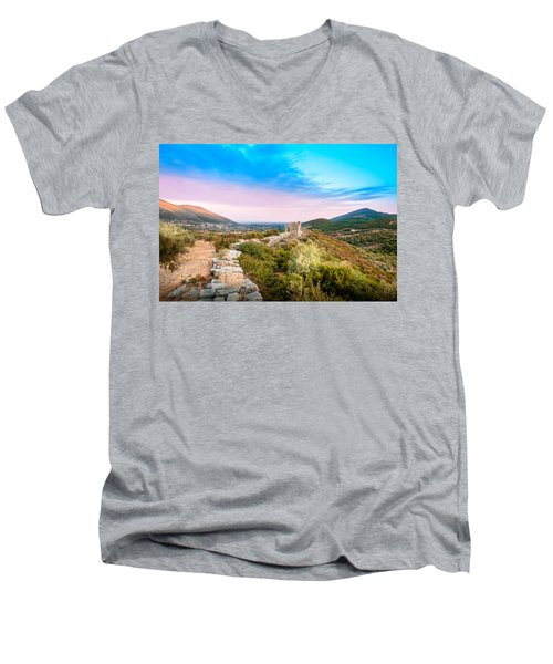 The Walls Of Ancient Messene - Greece. Men's V-Neck T-Shirt by Stavros Argyropoulos
