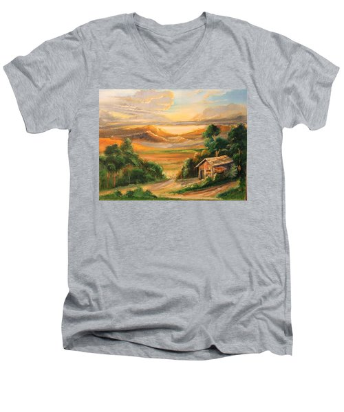 The Warmth Of Sunset Men's V-Neck T-Shirt by Remegio Onia