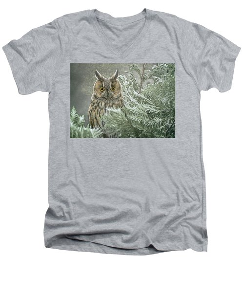 The Watcher In The Mist Men's V-Neck T-Shirt