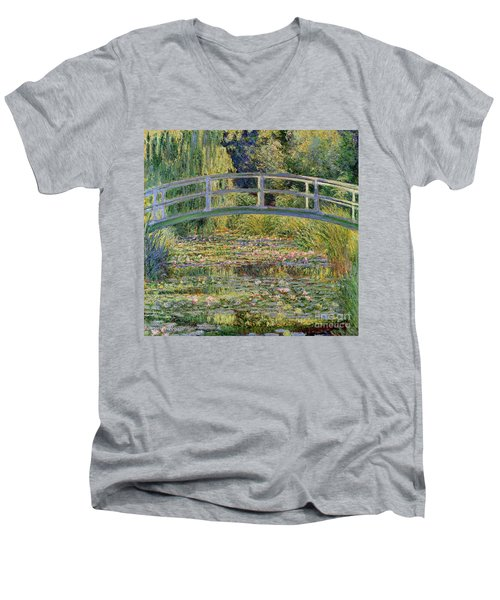 The Waterlily Pond With The Japanese Bridge Men's V-Neck T-Shirt