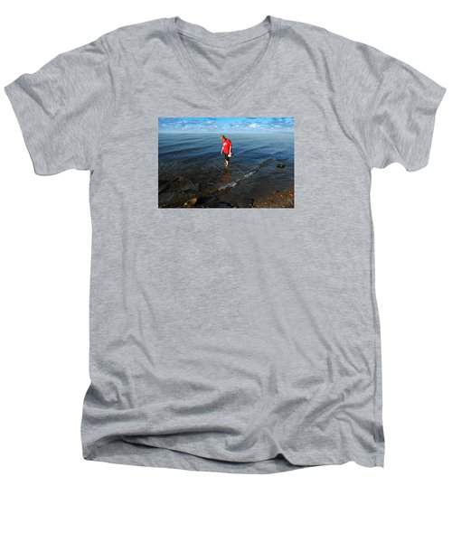 Men's V-Neck T-Shirt featuring the photograph The Water's Fine by Lena Wilhite