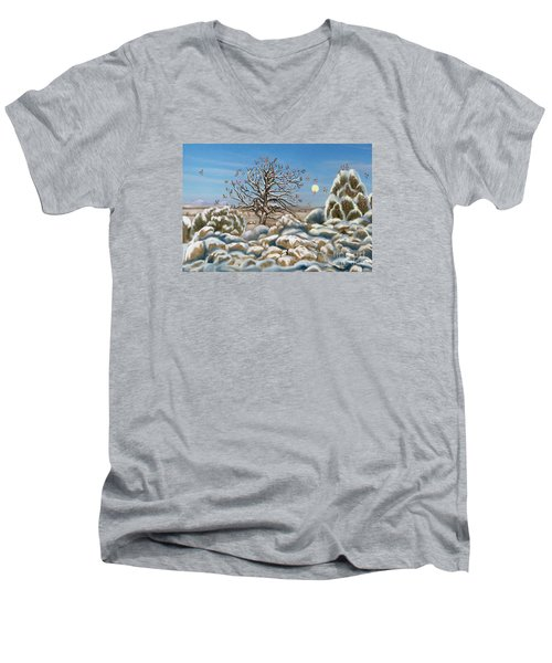 The Waxwing Tree Men's V-Neck T-Shirt by Dawn Senior-Trask
