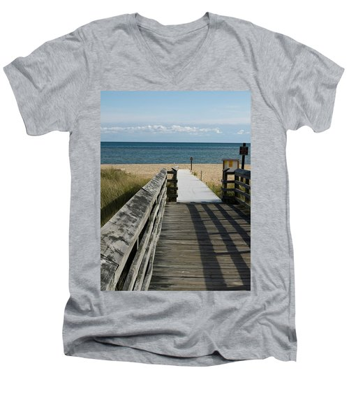 Men's V-Neck T-Shirt featuring the photograph The Way To The Beach by Tara Lynn